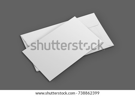 Blank White Envelope Mockup with an Invitation Card Royalty-Free Stock Photo #738862399