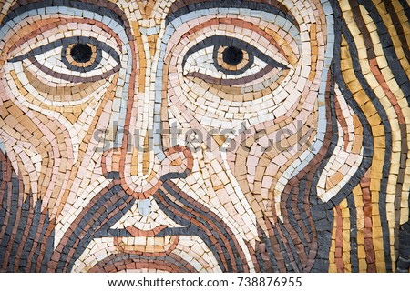 Jesus Christ in a modern mosaic made with ancient techniques. The mosaic has been made by a sicilian artist (release is provdided) , and it looks like the Pantokrator in cethedrals.