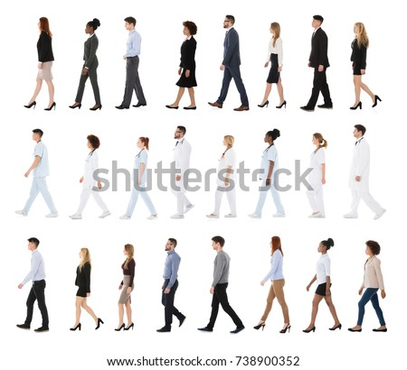 Collage Of Businesspeople And Doctors Walking In A Row Over White Background #738900352