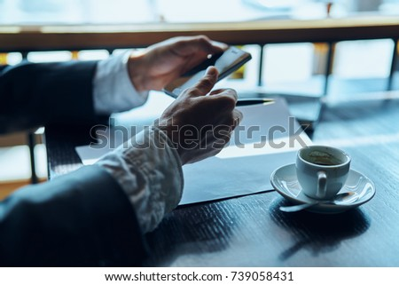 business objects, hand, coffee mug, phone                                #739058431