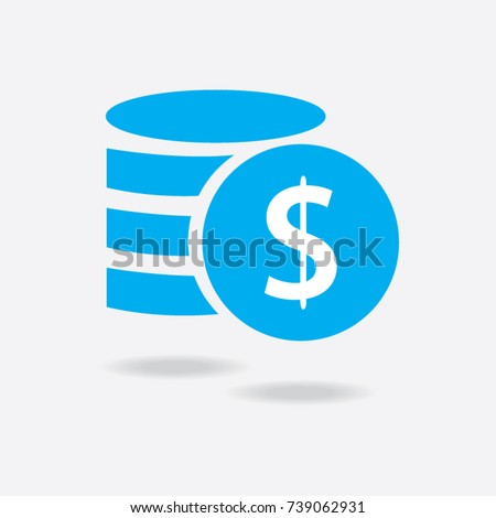 Money. Line Icon Vector. Payment system. Coins and Dollar cent Sign isolated on white background. Flat design style. Business concept. #739062931