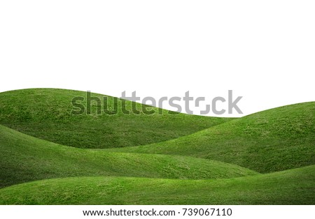 Green hill of grass field isolated on white background. Royalty-Free Stock Photo #739067110