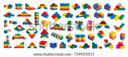 Plastic building blocks isolated on white background Royalty-Free Stock Photo #739092031