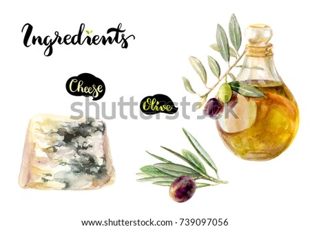 Cheese blue, olive and olive oil watercolor hand drawn the illustration isolated on white background. Kitchen ingredients set. #739097056