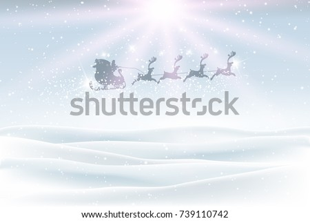 Christmas landscape with snow and santa flying in the sky #739110742