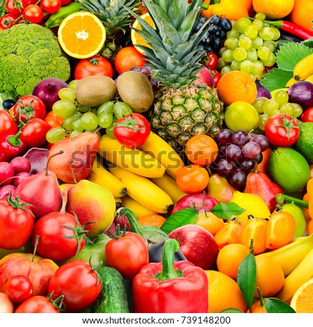 Large collection fruits and vegetables. Healthy foods. Top view #739148200