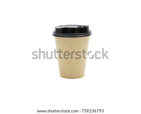 brown paper cups of coffee with Clipping path inside #739236793