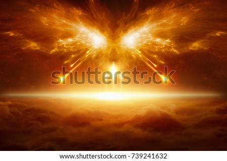 Apocalyptic religious background - end of the world, battle of armageddon, forces of evil destroy humanity. Elements of this image furnished by NASA Royalty-Free Stock Photo #739241632