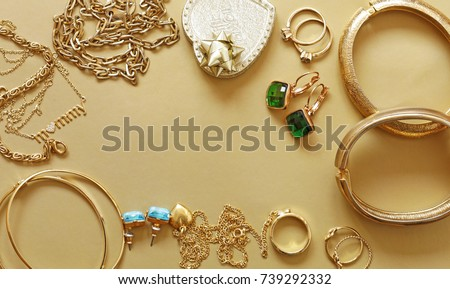 gold jewelry - pendants, bracelets, rings and chains Royalty-Free Stock Photo #739292332