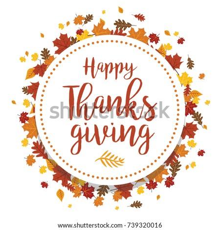 Happy Thanksgiving Leaves Vector Illustration