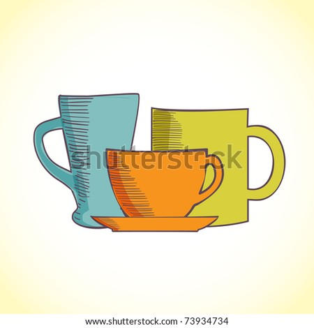 Hand-drawn illustration of coffee and tea mugs #73934734