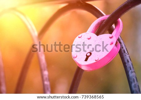 pink lock on the fence heart #739368565