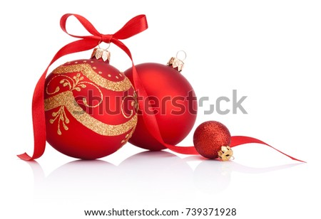 Red christmas decoration baubles with ribbon bow isolated on white background #739371928