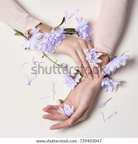 Fashion art skin care of hands and blue flowers in hands of women. Creative beauty photo hands, sitting at table on a contrasting pink background with colored shadows. Cosmetics for hands anti wrinkle #739403047