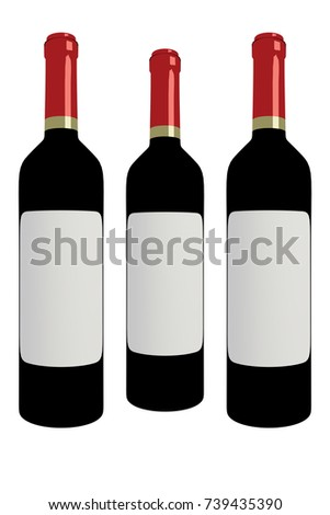 3D rendering of Three red wine bottles isolated on white background #739435390