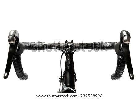 road bike handlebar carbon on white background #739558996