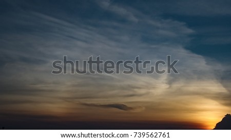The sunset with blue sky in the evening on summer #739562761