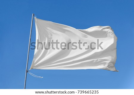 White flag attached to a flagpole waving on the sky #739665235