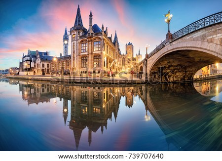 Gent, Belgium at day, Ghent old town #739707640