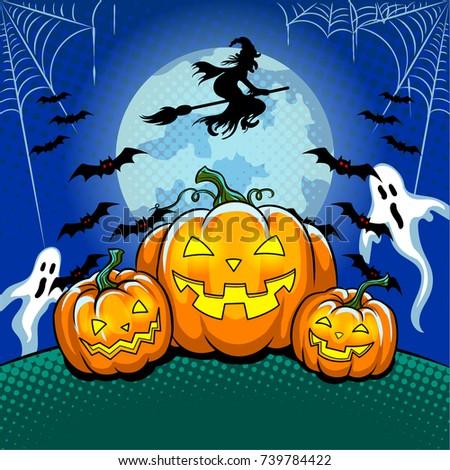 Halloween theme pop art retro raster illustration. Symbol Pumpkin. Comic book style imitation.