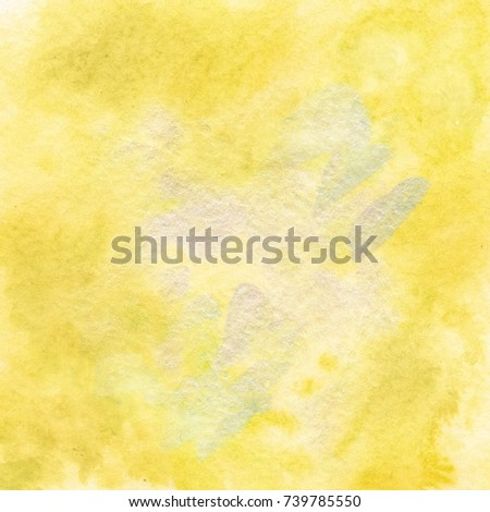 Yellow Watercolor Paper Texture Abstract grunge sunny bright background for scrapbooking and artistic design #739785550