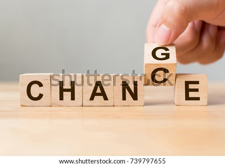 Hand flip wooden cube with word change to chance, Personal development and career growth or change yourself concept #739797655