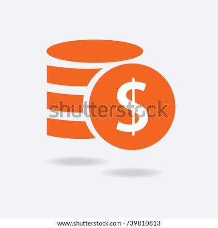 Money. Line Icon Vector. Payment system. Coins and Dollar cent Sign isolated on white background. Flat design style. Business concept. #739810813