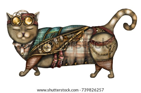 steam punk watercolor Illustration - fantasy cat with clockwork, jewelry, chain, glasses.  isolated on white background. Vintage cat, retro cool print.