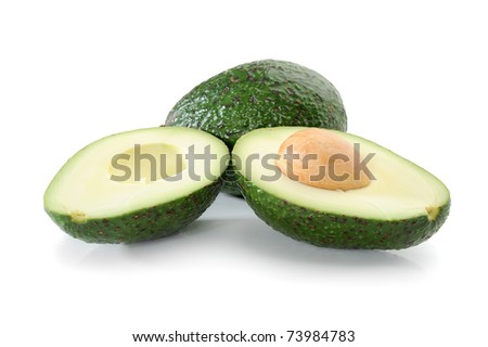 Fresh tropical avocado fruit studio isolated on white background #73984783