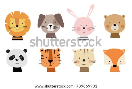 Cartoon cute animals for baby card and invitation. Vector illustration. Lion, dog, bunny, bear, panda, tiger, cat, fox. Royalty-Free Stock Photo #739869901