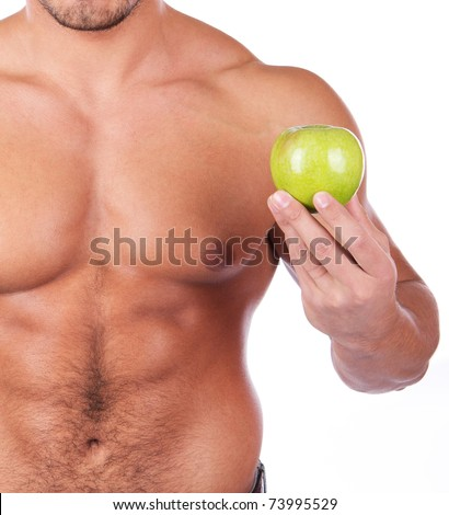 young man with some fresh green apple #73995529