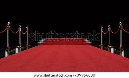 Red Event Carpet, Stair and Gold Rope Barrier Concept of Success and Triumph, 3d rendering Royalty-Free Stock Photo #739956880