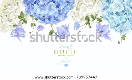 Vector horizontal border with blue and white hydrangea flowers on white background.