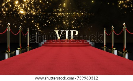 Red Event Carpet, Stair and Gold Rope Barrier Concept of Success and Triumph, 3d rendering. #739960312