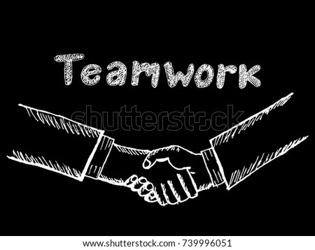 "sketch of handshake with ""teamwork"" text hand drawn #739996051"