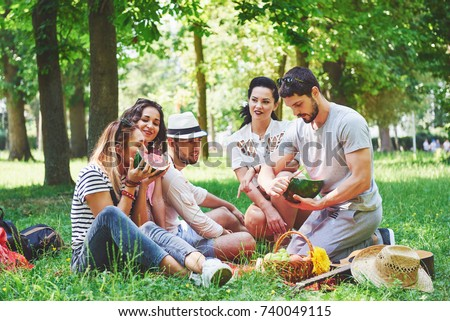 Group of friends having pic-nic in a park on a sunny day - People hanging out, having fun while grilling and relaxing.