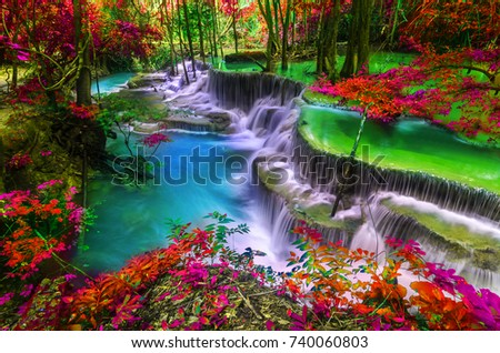 Waterfall in autumn forest at Thailand