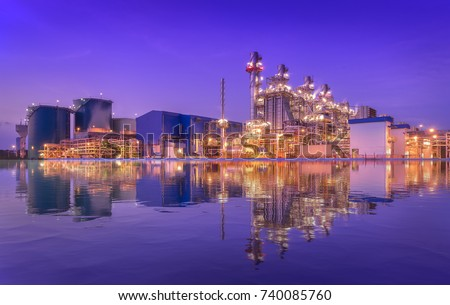 Natural gas combined cycle power plant reflection and Turbine generator with blue sky. #740085760