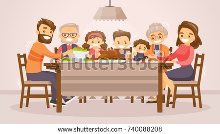 Christmas & Thanksgiving inspired Holiday card with caucasian family celebrating Thanksgiving day turkey at the table. Vector flat design family Holiday weekend illustration for poster, card, banner. Royalty-Free Stock Photo #740088208