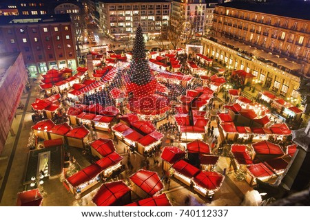 Cologne Cathedral Christmas Market. Most famous christmas market in the heart of Cologne near Cologne Cathedral. View from the top of Cologne Cathedral. #740112337