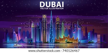 Night Dubai skyline.Vector illustration Royalty-Free Stock Photo #740126467