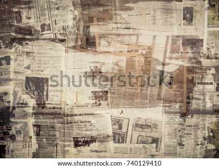 SCRATCHED PAPER TEXTURE, OLD NEWSPAPER BACKGROUND Royalty-Free Stock Photo #740129410