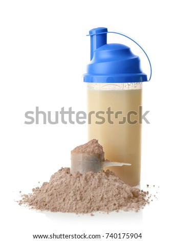 Bottle with protein shake and powder on white background #740175904