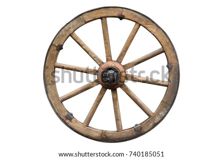wooden wheel isolated on white with clipping path included Royalty-Free Stock Photo #740185051