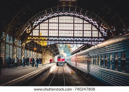 railway station train Royalty-Free Stock Photo #740247808