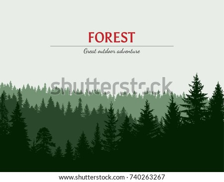 Abstract background. Forest wilderness landscape. Template for your design works. Hand drawn vector illustration. Royalty-Free Stock Photo #740263267