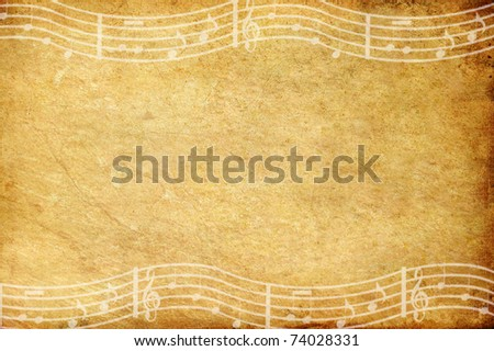 Old grunge paper and music note with copy space