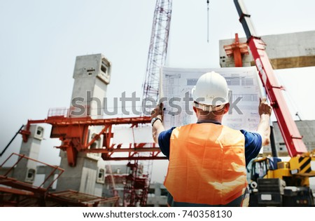 Site engineer on a construction site #740358130