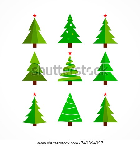 christmas tree cartoon on white background. #740364997