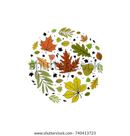Colorful autumn leaves in a circle postcard design on white background. #740413723